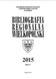 Bibliografia Regionalna Wielkopolski: 2015 Nr1
