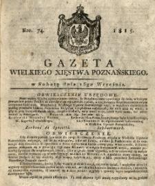 Gazeta Wielkiego Xięstwa Poznańskiego 1815.09.16 Nr74