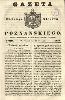 Gazeta Wielkiego Xięstwa Poznańskiego 1843.09.19 Nr219