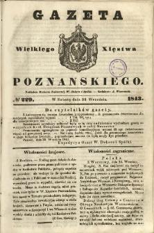 Gazeta Wielkiego Xięstwa Poznańskiego 1843.09.30 Nr229