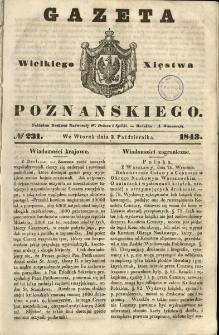 Gazeta Wielkiego Xięstwa Poznańskiego 1843.10.03 Nr231
