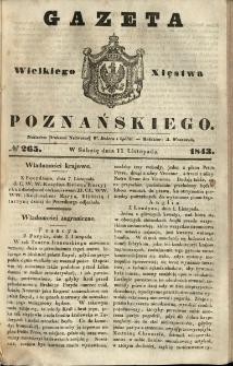 Gazeta Wielkiego Xięstwa Poznańskiego 1843.11.11 Nr265