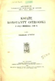 Książę Konstanty Ostrogski a Unja Brzeska 1596 r.